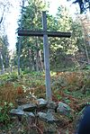 Wooden cross in place of airplane crash on Polica mountain.jpg