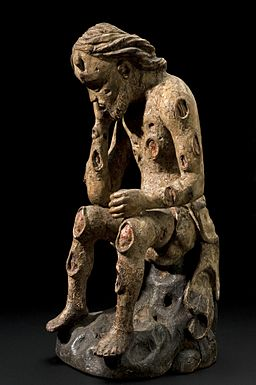 Wooden figure of Job with an affliction of boils, possibly G Wellcome L0058509