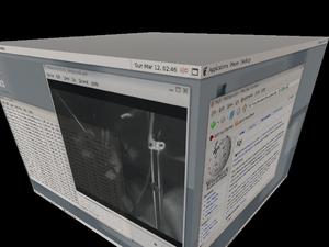 Korora (operating system) - Screenshot of the Xgl abilities of the Kororaa Live CD
