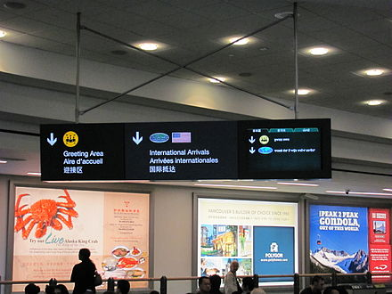 Multilingual sign at Vancouver International Airport, international arrivals area. Text in English, French, and Chinese is a permanent feature of this sign, while the right panel of the sign is a video screen that rotates through additional languages. YVR intl arrivals signage 2.jpg