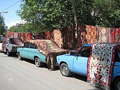 Carpets for sale at a Yerevan market.