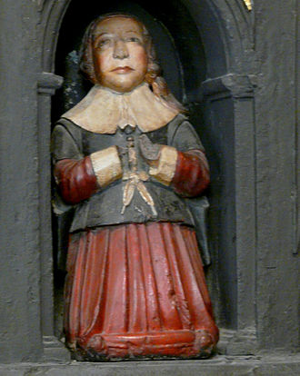 Robert Boyle - Sculpture of a young boy, thought to be Boyle, on his parents' monument in St Patrick's Cathedral, Dublin.