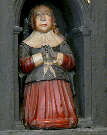 Sculpture of a young boy, thought to be Boyle, on his parents' monument in St Patrick's Cathedral, Dublin. Young Robert Boyle on monument St. Patricks.jpg