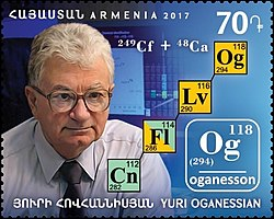 Yuri Oganessian 2017 stamp of Armenia.jpg