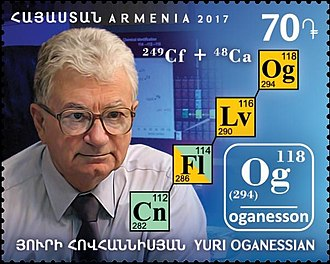 Oganesson - Element 118 was named after Yuri Oganessian, a pioneer in the discovery of synthetic elements, with the name oganesson (Og). Oganessian and the decay chain of oganesson-294 were pictured on a stamp of Armenia issued on 28 December 2017.