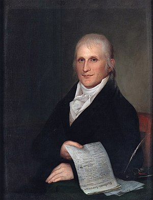 """Zachariah Poulson - Zachariah Poulson. (by James Peale) The newspaper contains an advertisement that reads """"James Peale / No. 69 / Lombard Street / Paints Portraits / In Oils And Miniature / Oct. 29, 1808."""" Adjacent to this advertisement is one for the museum run by James' brother, Charles Willson Peale."""