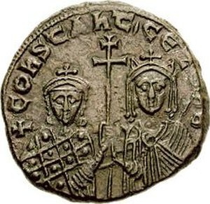 Zoe Karbonopsina - Zoe and her son, emperor Constantine VII. Follis minted during Zoe's regency, 914–919