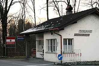 Diepoldsau - Customs station on Austrian border in the village of Schmitter