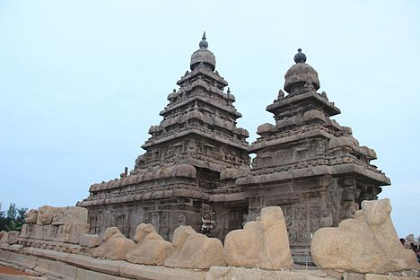 """Aesthetic low angle shot of Shore Temple complex at Mamallapuram"".JPG"