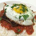 """Italian"" Loco Moco - Meatball patties with spicy tomato basil sauce and sunny egg over rice. -mashup (14375994018).jpg"