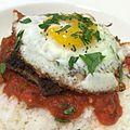 """Italian"" Loco Moco - Meatball patties with spicy tomato basil sauce and sunny egg over rice. -mashup (14375994018).jpg"