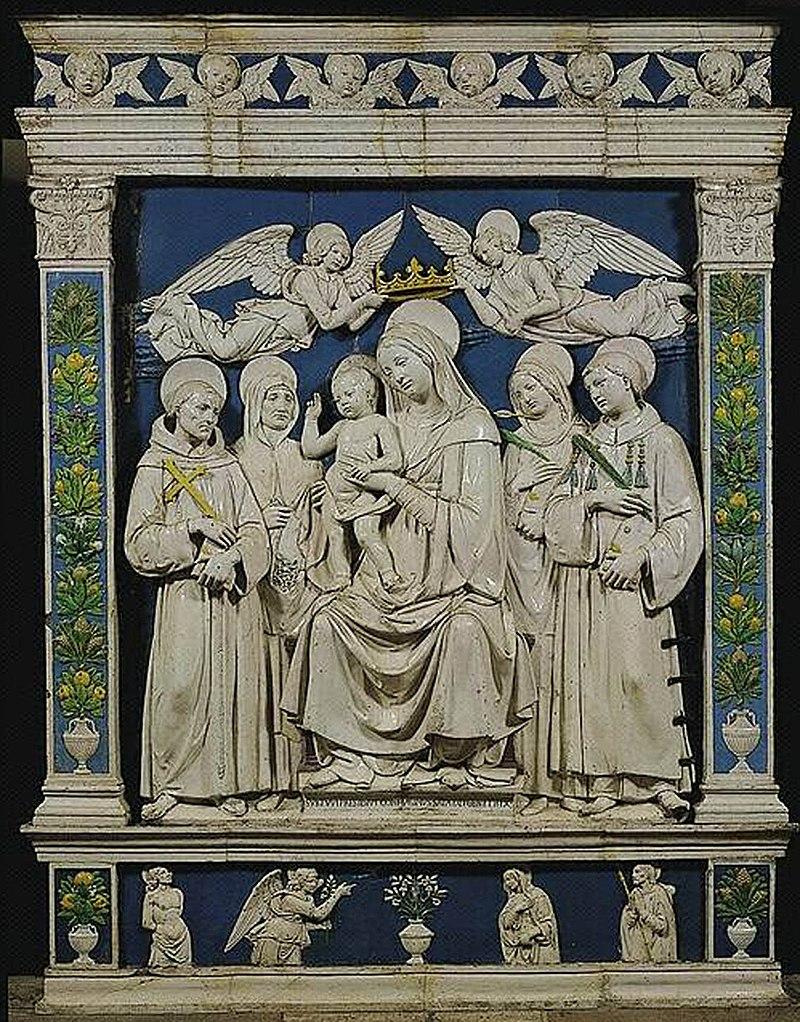 """""""Madonna col Bambino e i Santi Francesco, Elisabetta d'Ungheria, Cristina di Bolsena (o Orsola) e Lorenzo"""", Andrea della Robbia (1500 ca.).jpg"""