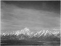 """Tetons from Signal Mountain,"" View of valley and snow-capped mountains, low horizons, Grand Teton National Park, Wyomin - NARA - 519912.tif"