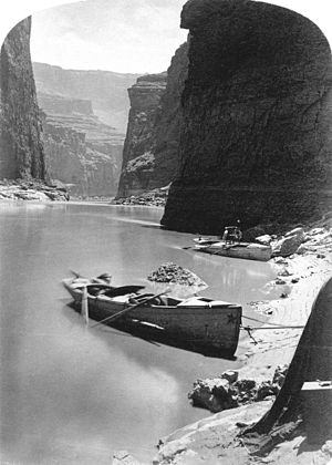 Marble Canyon - John Wesley Powell's second expedition on a noon-day rest in Marble Canyon