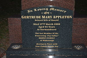 Wahroonga, New South Wales - Grave of Gertrude Mary Appleton, last member of the Brown family, who played a large part in developing Wahroonga