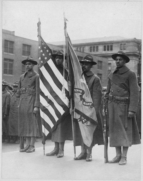 (African American) color bearers of 15th Regiment Infantry, New York National Guard, New York City. . . . - NARA - 533598