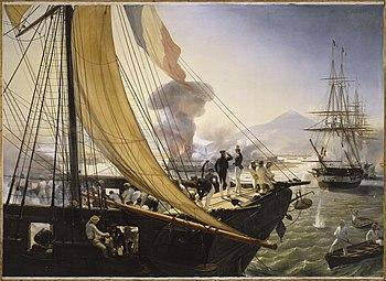 Eksplosion af et tårn i fæstningen San Juan de Ulúa set fra en fransk korvette;  Maleri af Horace Emil Jean Vernet