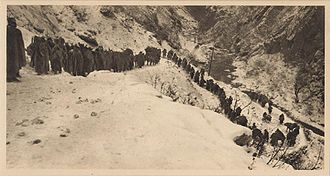 Macedonian Front - The retreat of the Serbian troops in the winter 1915/16 across a snowy mountain in Albania to Adriatic coast.