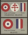 """FIGHTING FRANCE"" and ""FRANCE"" - WW2 Aircraft Insignia Newsmap Vol 2 No 22 1943-09-20 US Government National Archives NARA Unrestricted Public domain 26-nm-2-22-overseas 002 (cropped).jpg"