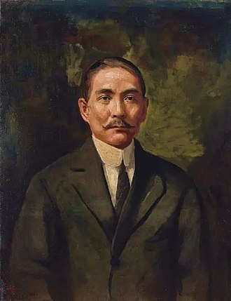 "Sun Yat-sen - ""Portrait of Sun Yat-sen"" (1921) Li Tiefu Oil on Canvas 93×71.7cm"