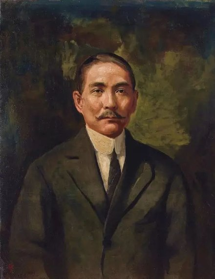 """Portrait of Sun Yat-sen"" (1921) Li Tiefu Oil on Canvas 93x71.7cm Li Tie Fu Sun Zhong Shan 12345.jpg"