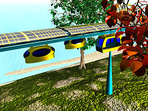 Solar vehicle - JPods PRT concept with photovoltaic panels above guideways