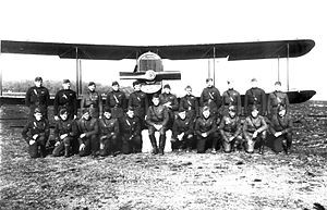 100th Aero Squadron - Pilots of the 100th Aero Squadron along with a Dayton-Wright DH-4, Ourches Airdrome, France, November 1918