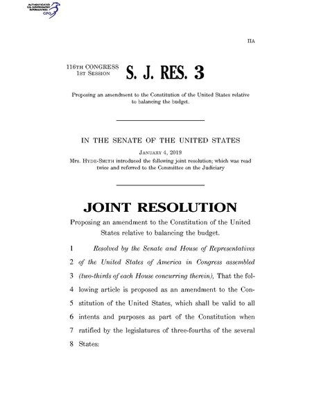 File:116th United States Congress S.J.Res. 003 (1st session) - A joint resolution proposing an amendment to the Constitution of the United States relative to balancing the budget.pdf