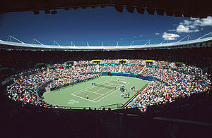 Wheelchair tennis at the 2000 Summer Paralympics - View from above of the venue for wheelchair tennis competition at the 2000 Summer Paralympics - the Olympic Tennis Arena
