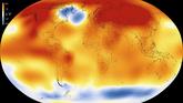 Temperaturen der Erde im Jahr 2015 verglichen mit den Durchschnittstemperaturen aus der Zeit zwischen 1951 und 1980. Orange Farben repräsentieren Regionen, die sich erwärmt haben, blaue Farben Regionen, die sich abgekühlt haben.