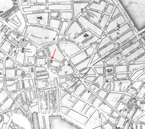 Brattle Street Church - Image: 1829 Brattle Street Church Boston USA map by Stimpson BPL 12254