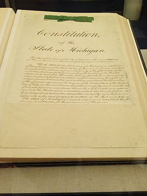 Constitution of Michigan - The 1835 Constitution on display at the Michigan Historical Center on Statehood Day in 2013