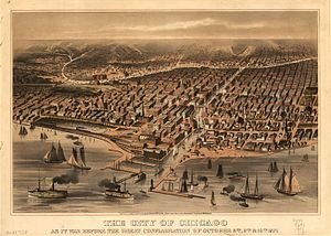 Great Chicago Fire - 1871 Chicago view before the 'Great Conflagration'