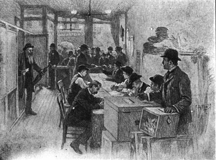 New York polling place circa 1900, showing voting booths on the left. 1900 New York polling place.jpg