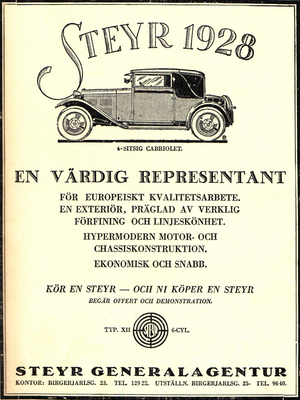 Steyr automobile - Swedish Ad for 1928 Steyr Type Xll 6cyl 4seat Convertible