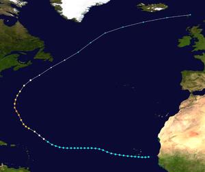 1948 Bermuda–Newfoundland hurricane - Image: 1948 Atlantic hurricane 6 track