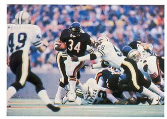 1984 NFL season - Walter Payton (34) pictured breaking the NFL's career rushing record on October 7, 1984..