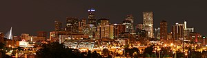 Colorado metropolitan areas - Image: 2006 07 14 Denver Skyline Midnight