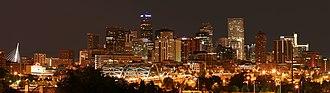 Colorado metropolitan areas - Image: 2006 07 14 Denver Skyline Midnight
