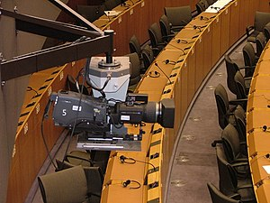 EuroparlTV - Camera in the hemicycle of the Paul-Henri Spaak building in Brussels