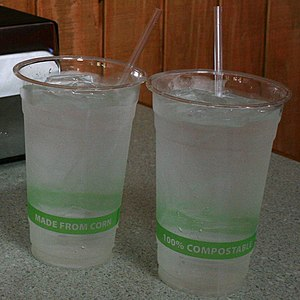 Polylactic acid - Biodegradable PLA cups in use at a restaurant