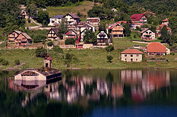 20090714 Mavrovo lake church summer.jpg