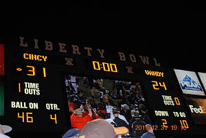 2011 Liberty Bowl - The final scoreboard at the conclusion of the game.