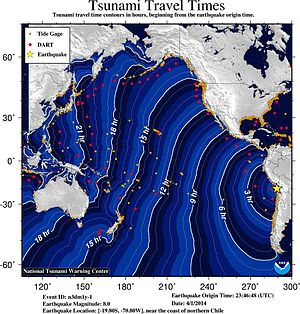 2014 Iquique earthquake - Travel time projection of the tsunami