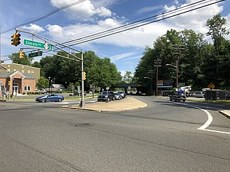 New Jersey Route 59 - The intersection of Route 28 and Route 59 on the border of Garwood and Cranford, with overhead signage indicating Route 59's presence on Lincoln Avenue