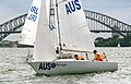 231000 - Sailing sonar Jamie Dunross Noel Robins Graeme Martin action 8 - 3b - 2000 Sydney race photo.jpg