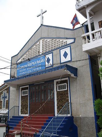 Christianity in Laos - Protestant Church, Luang Prabang Road, Vientiane.