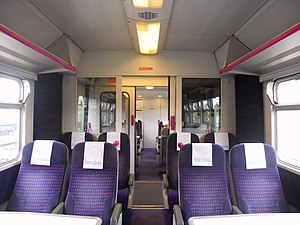 British Rail Class 321 - The interior of the First Class cabin aboard a Silverlink Class 321/4 EMU