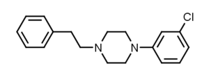 1-(3-Chlorophenyl)-4-(2-phenylethyl)piperazine - Image: 3C PEP structure