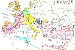 Campaign history of the Roman military - Europe in 476, from Muir's Historical Atlas (1911)